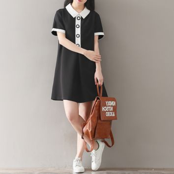 LOOSE LARGE SIZE STITCHING WAS THIN A WORD LAPEL SHORT SLEEVE DRESS