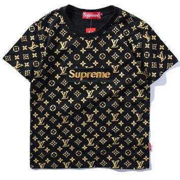 Supreme x LV Fashion Print Embroider Short Sleeve Tunic Shirt Top Blouse-3