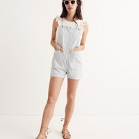 Denim Tie-Strap Short Overalls