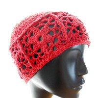 Women's crochet hat, coral women's crocheted beanie hat, upcycled silk-blend hat, begonia floral hat, eco fashion, made to order