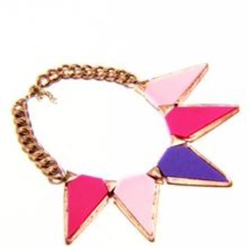 Triangle Lucite Rose Gold Chain Necklace