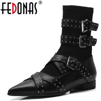 FEDONAS Punk Sexy Women Genuine Leather Shoes Woman Ankle Boots Rivets Buckles Low Heels Motorcycle Boots Brand Stretch Boots