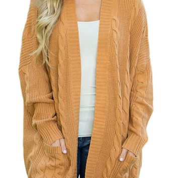 Mustard Knit Texture Long Sleeve Cardigan with pockets