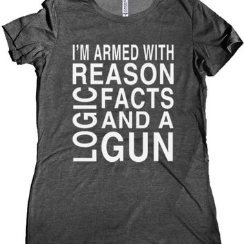 Reason Logic and a Gun Premium Women's T-Shirt
