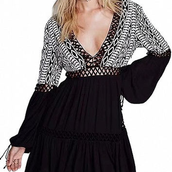 Black Contrast V-Neck Lace Paneled Tassel Back Tie Long Sleeve Mini Dress