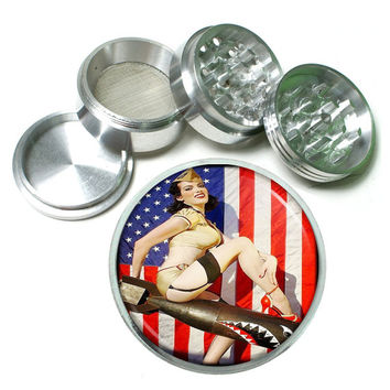 "Vintage Sexy PinUp Girl 4 Piece Silver Alumium Grinder 2.5"" Bombs Away WWII American Flag"