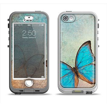 The Vivid Blue Butterfly On Textile Apple iPhone 5-5s LifeProof Nuud Case Skin Set