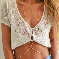 New Fashion Beach Circle Multilayer Summer Body Chain Simple Necklace Jewelry Alloy Gold Plated Body Necklaces For Women 2016
