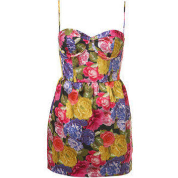 vintage floral bustier mini dress