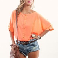 Oversized Neon Orange Button Down Top with Butterfly Back