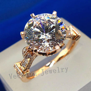 Vecalon luxury Rose Gold Crown wedding ring for women Round cut 3ct Simulated diamond Cz 925 Sterling Silver Female Band ring