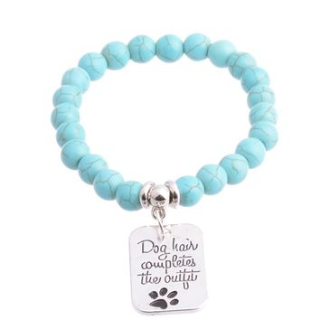 Dog hair completes the outfit |  pet humor - stamped metal paw print jewelry | Pet bead bracelet with quote charm