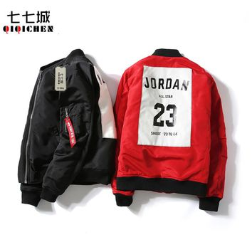 Autumn Winter Jacket Men 2017 Baseball Collar Jordan 23 Ma1 Bomber Pilot Jacket Men Fashion Print Slim Padded Jacket Men Tide
