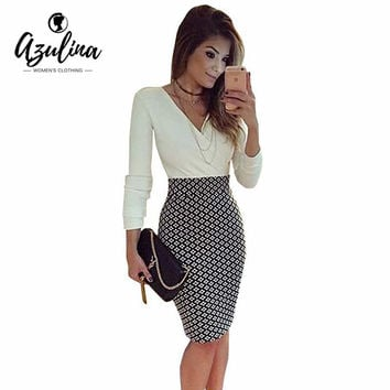 AZULINA OL Long Work Office Dresses Black White Pencil Women Formal Dresses Checked Printed Womens Tunic Midi Sexy Sheath Robe