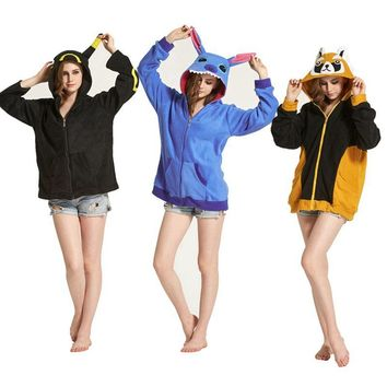 Unicorn Women Men Hoodie Animal Cartoon Jacket Pokemon Pikachu unicornio Stitch Cosplay Tracksuits Zipper Gardigan Sweatshirts