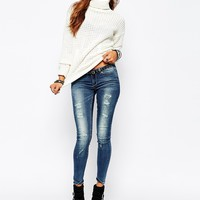Noisy May Eve Low Waist Destroyed Skinny Jeans