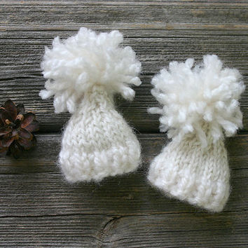 Cream White Miniature Knitted Hats- 2 Mini  Hand Knit  Caps- Doll Hats, Small Pets, Collectibles