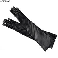 High Quality 50cm Women's Long Leather Fashion Gloves Ultra Long Faux Leather Long Gloves Black Red Gloves For Women