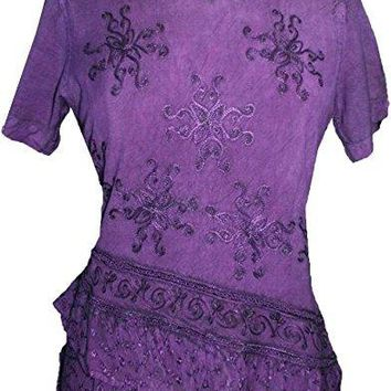 Medieval Renaissance Gypsy Ruffle Cross Blouse
