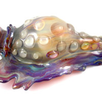Artistic Sculpted Glass Sea Shell Pipe - Silver Fumed Amber Purple Surface and Water Droplets Unique Heady Seashell Smoking Bowl