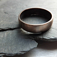 domed bronze ring - bronze mens ring - elegant bronze ring - 6mm wide - mens ring - wedding anniversary gift - dark oxidized