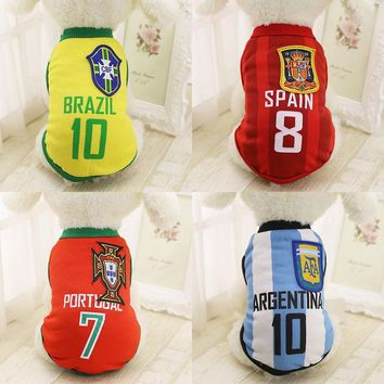 Sports Dog Vest Cat Shirt Pet Clothing Summer Cotton Sweatshirt Football Jersey Dog Clothes For Small Medium Large Dogs XS-6XL
