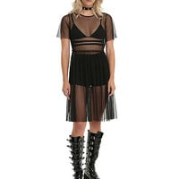 Long Mesh Dress Black