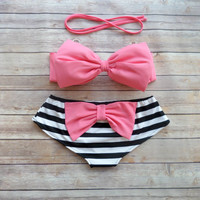Bow Bandeau Bikini - Cheeky Boy Short Style Swimwear -  With Bow on Butt  - Coral Pink with Stripes - Unique & So Cute!