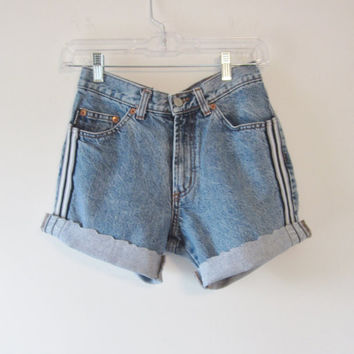 Vintage Bongo Shorts Cut Off Denim Shorts Made in the USA Jean Shorts Womens Size 7 Waist 30 Hipster
