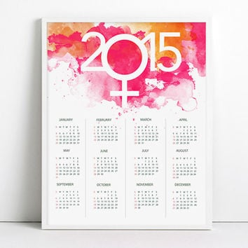 2015 Calendar Watercolor New year Girl Power Women Inspirational Pink Lips colors Paris Home Decor Pink Decor sexy Wall Decor Fashion art