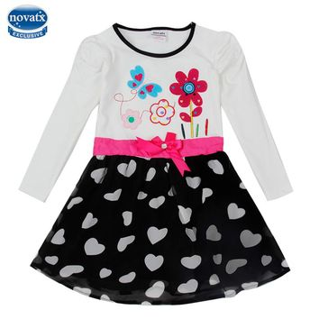 Retail long sleeve baby girl dresses autumn spring girl dress nova factory sell child frocks hot sell dresses