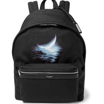 Saint Laurent - City Leather-Trimmed Printed Canvas Backpack