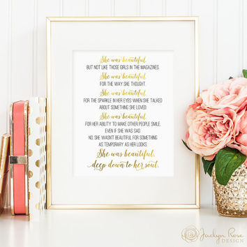 Great Gatsby quote, She was beautiful deep down to her soul print, F. Scott Fitzgerald, Great Gatsby faux gold foil print (digital JPG)