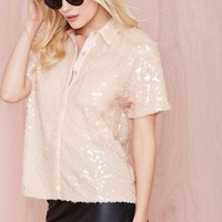 Alina Sequin Button Up Shirt