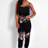 Jenny Black & Floral Silky Stretch Jumpsuit | Pink Boutique