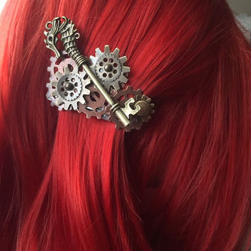 Seahorse Nautical Hair Accessories - Steampunk Hair Clip - Mermaid Hair Clip - Jewelry