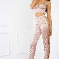 Chained Up Satin Set - Mauve