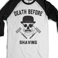 Death Before Shaving-Unisex White/Black T-Shirt
