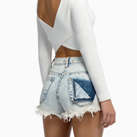 White Long Sleeve Backless Cropped Top