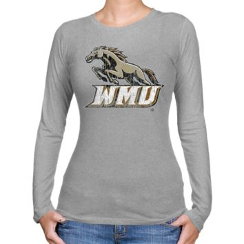 Western Michigan Broncos Ladies Distressed Secondary Long Sleeve Slim Fit T-Shirt - Ash