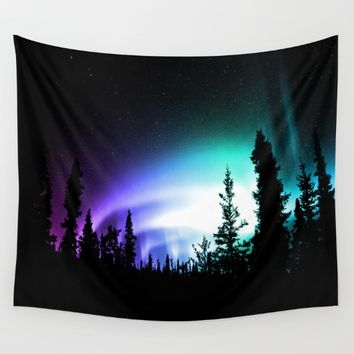Aurora Borealis Forest Wall Tapestry by 2sweet4words Designs