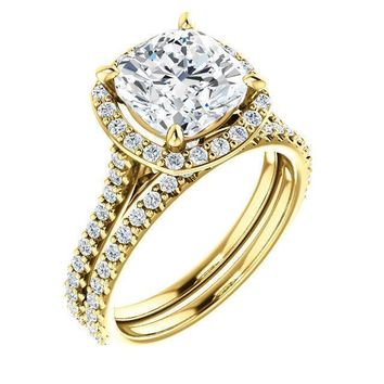 Cushion Moissanite Diamond Accent Ice Halo Bezel Ring