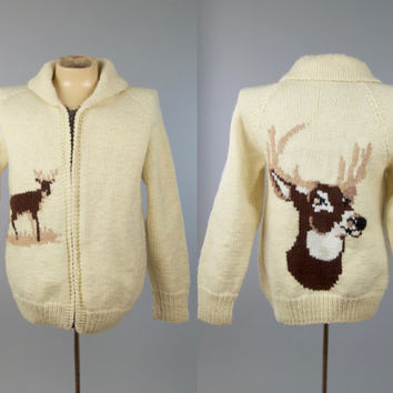 60s Cowichan Sweater Deer Wool Hand Knit Wilderness Shawl Collar Winter Sweater