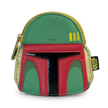 Star Wars Boba Fett Green/Red Faux Leather Face Coin Bag - Coin Bags