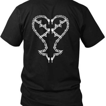 Kingdom Hearts Keyblades To My Heartless 2 Sided Black Mens T Shirt
