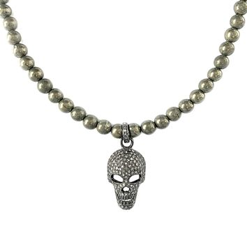 1.00ct Pavé Diamonds Skull Charm Pendant in Pryrite Beads Necklace 20""