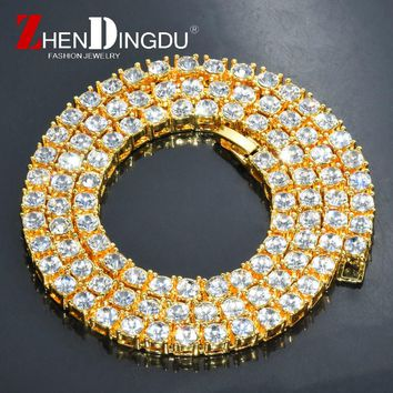 "Men's Hip Hop Gold Finish 5mm Rhinestone Tennis Link Charm Punk Jewelry Fashion Necklace Choker Long Chain 16"" 18"" 20"""