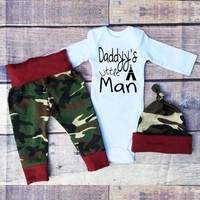 Baby boy girl clothing cotton long-sleeved Romper+ pants + hat infant letter 3 units suit newborn baby girls clothes