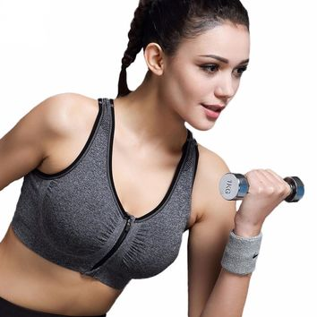 Women Yoga Bra Zipper Front Push Up