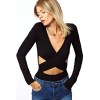 Hollow Out Casual Long Sleeve Black Causal Women's Fashion Jumpsuit = 4804179268